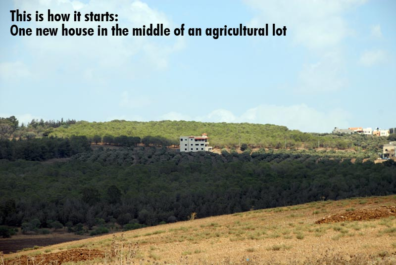 This is how it starts: One new house in the middle of an agricultural lot